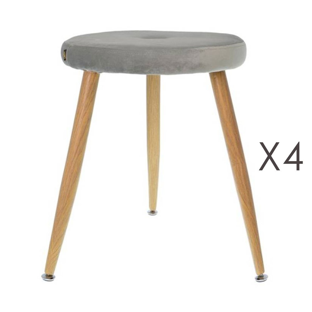 Tabouret - Lot de 4 tabourets en tissu velours gris - GIBSY photo 1