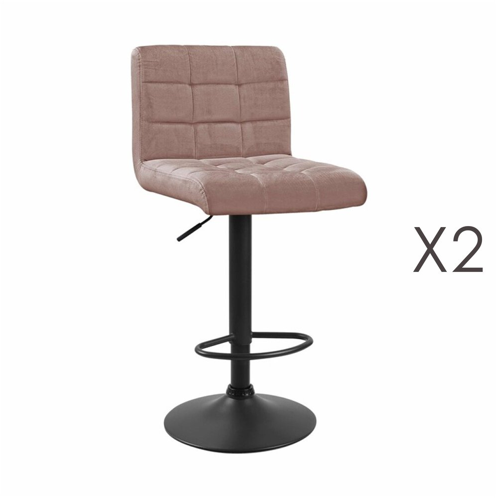 Tabouret de bar - Lot de 2 chaises de bar 50x45,5x88 cm en velours rose - GABIN photo 1