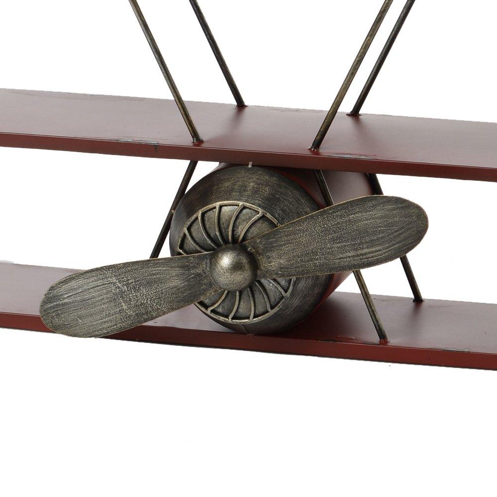 Etagere Avion Chambre Bebe etagère avion 93x23x83 cm en bois rouge et métal | maison et