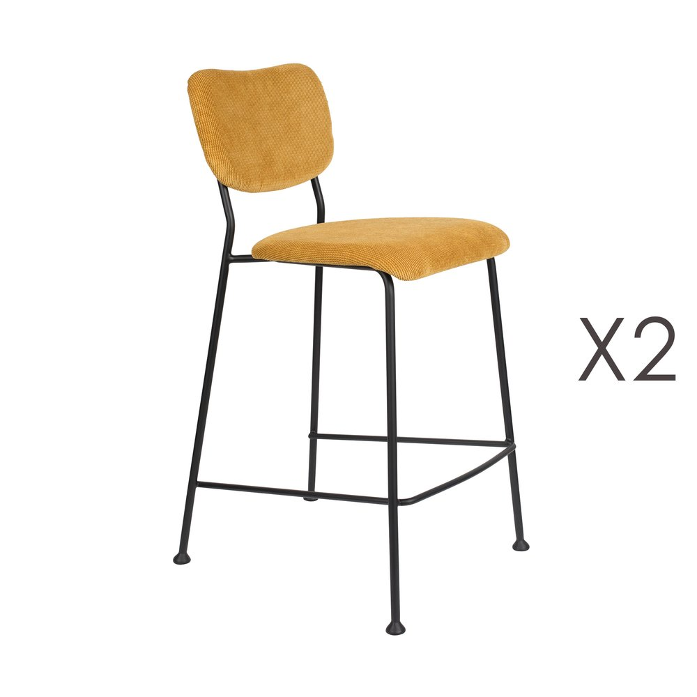 Tabouret de bar - Lot de 2 tabourets de bar H65 cm en tissu ocre - BENSON photo 1