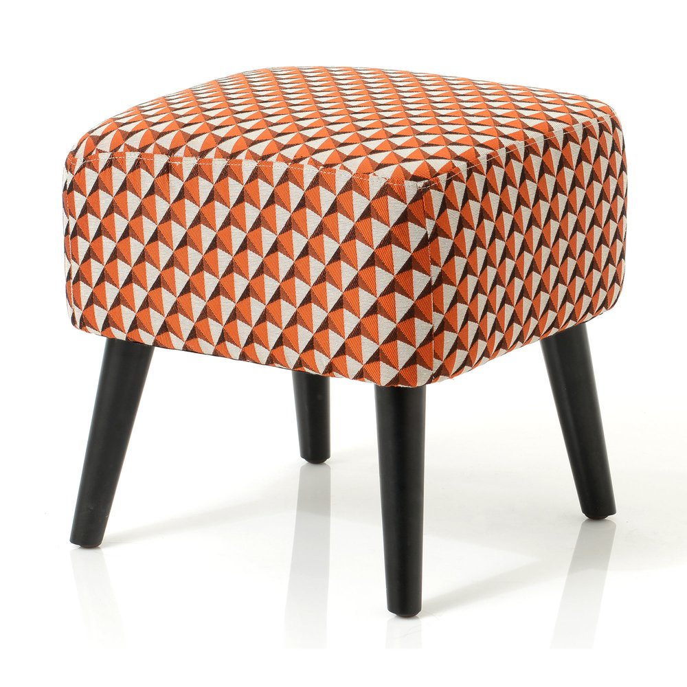 Pouf - Pouf 40x40x40 cm en tissu à motifs orange - ELISA photo 1