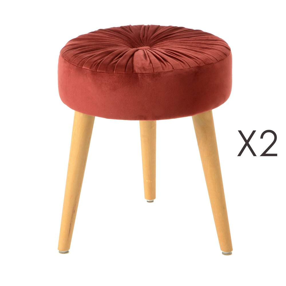 Tabouret - Lot de 2 tabourets ronds 37 cm en tissu bordeaux - FLODEN photo 1