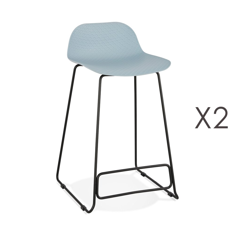 Tabouret de bar - Lot de 2 tabourets de bar H66 bleu et pieds noirs - FLODEN photo 1