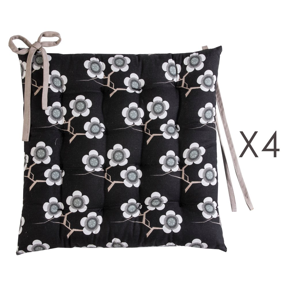 Linge de table - Lot de 4 galettes de chaise 40x40 cm noires à motifs fleurs - FLOWERS photo 1