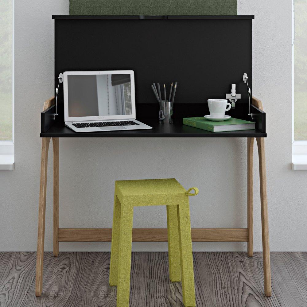 Bureau avec rangement 94x53x76 cm noir et pieds en chêne   Maison et Styles