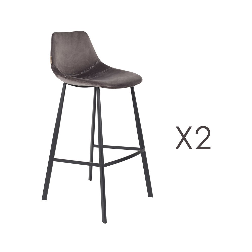 Tabouret de bar - Lot de 2 chaises de bar H80 cm en velours gris - FRANKY photo 1