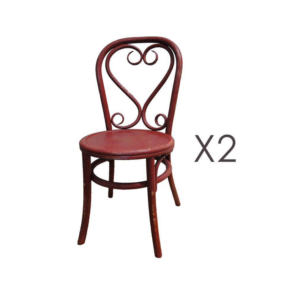 Chaise - Lot de 2 chaises brasserie en bois et rotin rouge - VANY photo 1