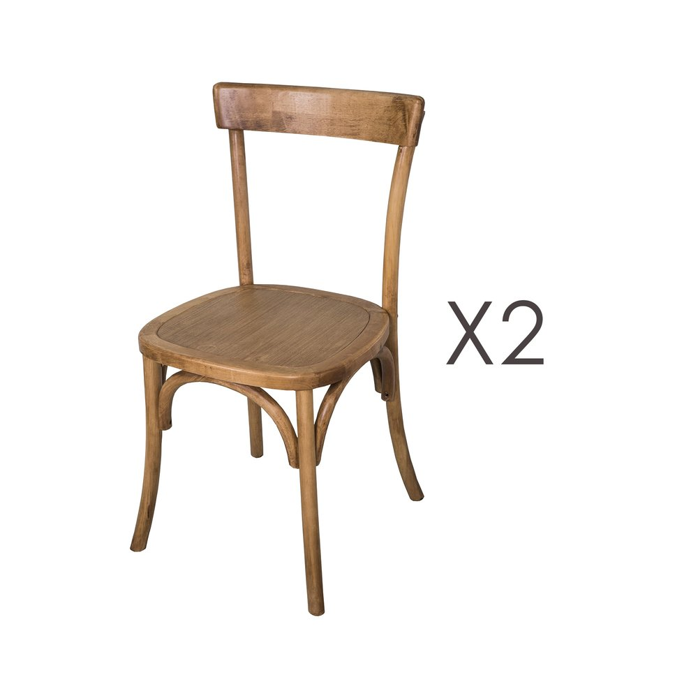 Chaise - Lot de 2 chaises bistrot 45x47x86 cm en bouleau naturel photo 1