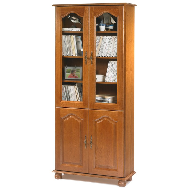 Biblioth que 2 portes vitr es 2 portes pleines ch ne Meuble bibliotheque vitree