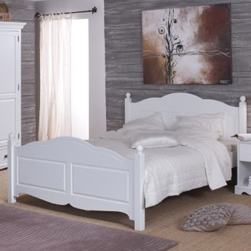 lit blanc 2 places 140 x 190 de style anglais maison et styles. Black Bedroom Furniture Sets. Home Design Ideas