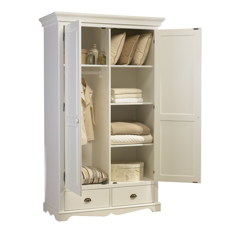 armoire penderie blanche 2 portes de style anglais maison et styles. Black Bedroom Furniture Sets. Home Design Ideas