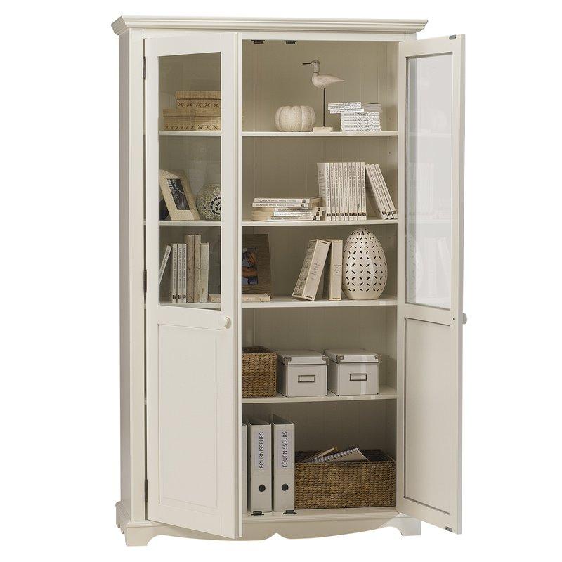 biblioth que blanche 2 portes de style anglais maison et styles. Black Bedroom Furniture Sets. Home Design Ideas