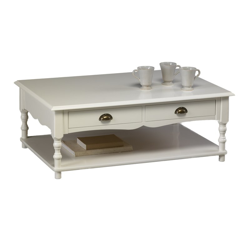 Table basse blanche de style anglais maison et styles for Table de salon carre