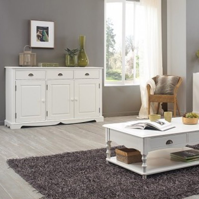 Buffet blanc 3 portes 3 tiroirs de style anglais maison Meuble tv style anglais