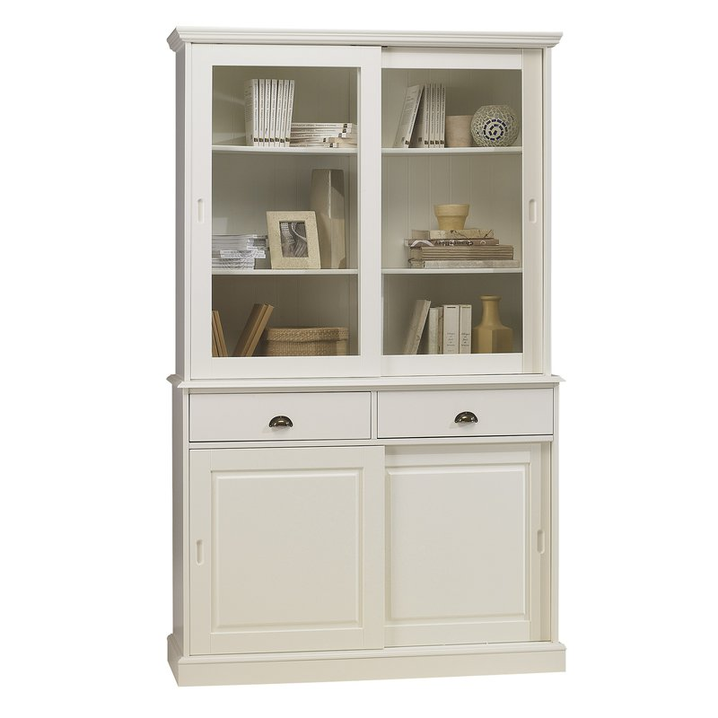 vaisselier blanc biblioth que blanche 4 portes coulissantes maison et styles. Black Bedroom Furniture Sets. Home Design Ideas