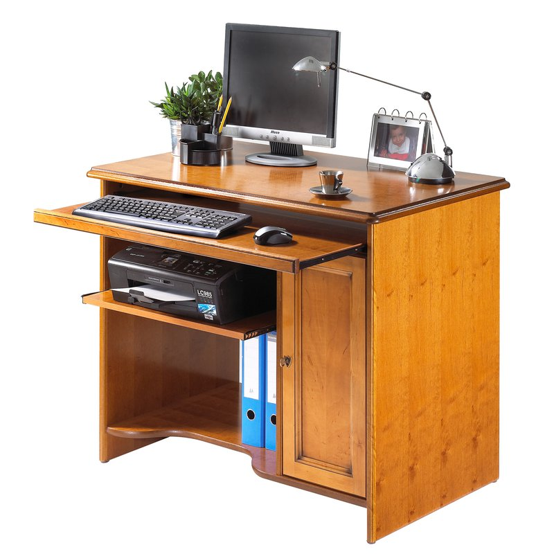 meuble informatique teinte merisier maison et styles On meuble bureau informatique but