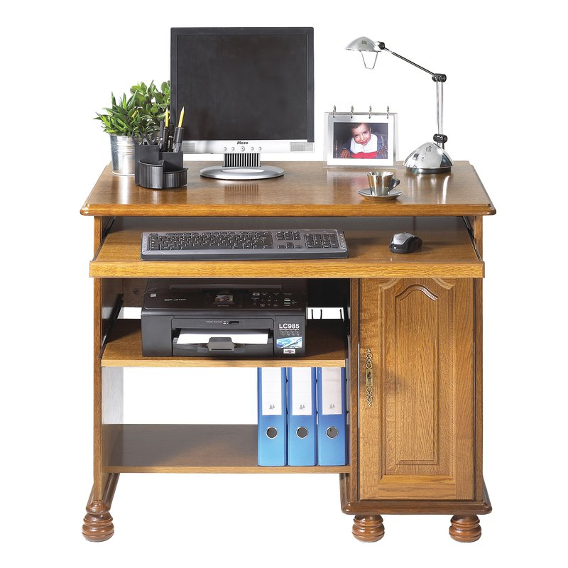 Meuble informatique 1p chene rustique maison et styles for Meuble bureau informatique but