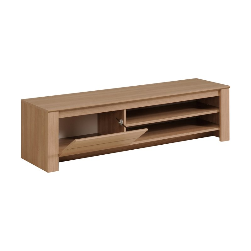 Banc tv 1 porte 152x41x40cm coloris ch ne clair maison for Banc tv chene