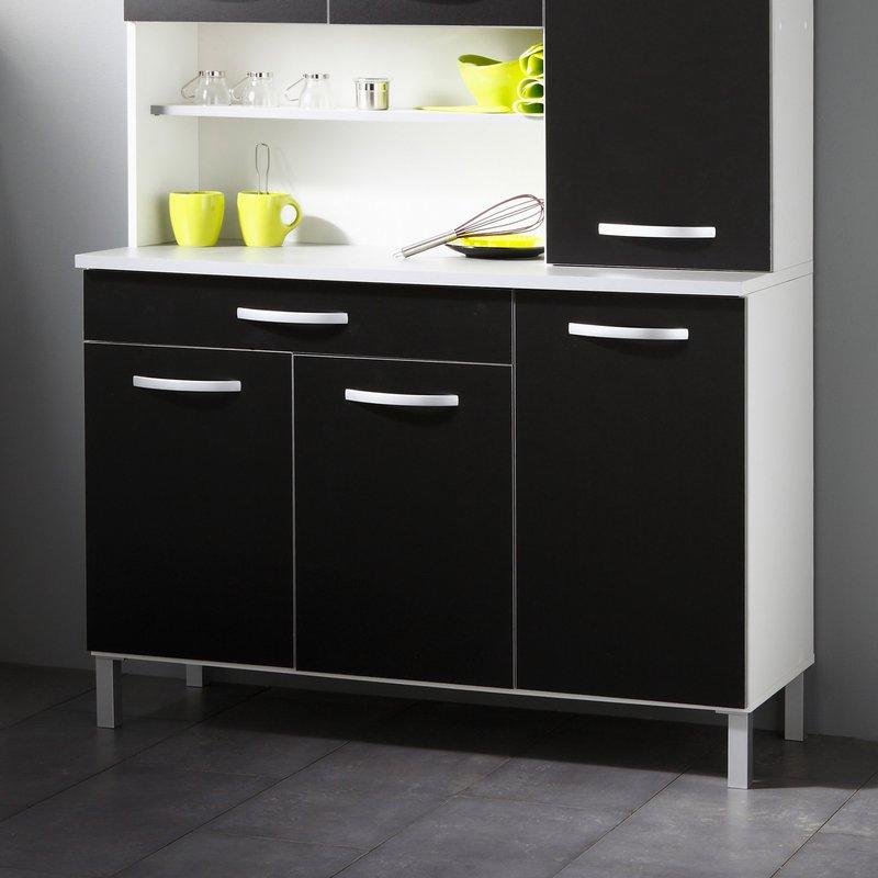 buffet de cuisine 6 portes 120x44x181cm coloris noir maison et styles. Black Bedroom Furniture Sets. Home Design Ideas