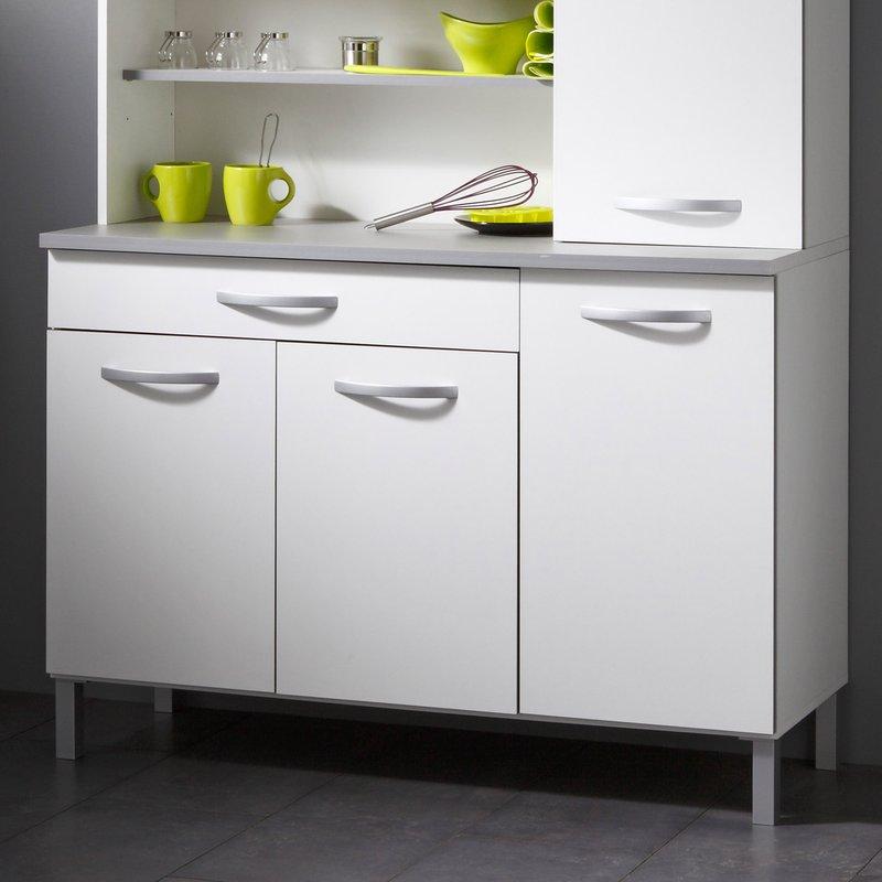 buffet de cuisine 6 portes 120x44x181cm coloris blanc maison et styles. Black Bedroom Furniture Sets. Home Design Ideas