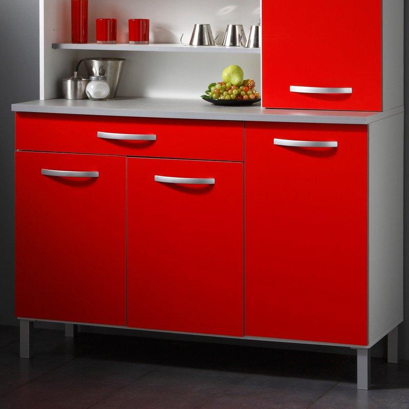 buffet de cuisine 6 portes 120x44x181cm coloris rouge maison et styles. Black Bedroom Furniture Sets. Home Design Ideas