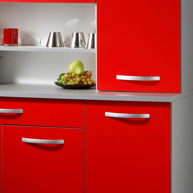 buffet de cuisine 6 portes 120x44x181cm coloris rouge. Black Bedroom Furniture Sets. Home Design Ideas
