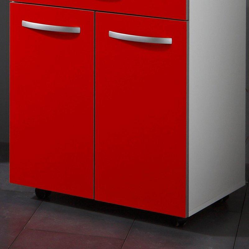 Desserte cuisine 60x45x82cm coloris rouge maison et styles - Desserte cuisine rouge ...