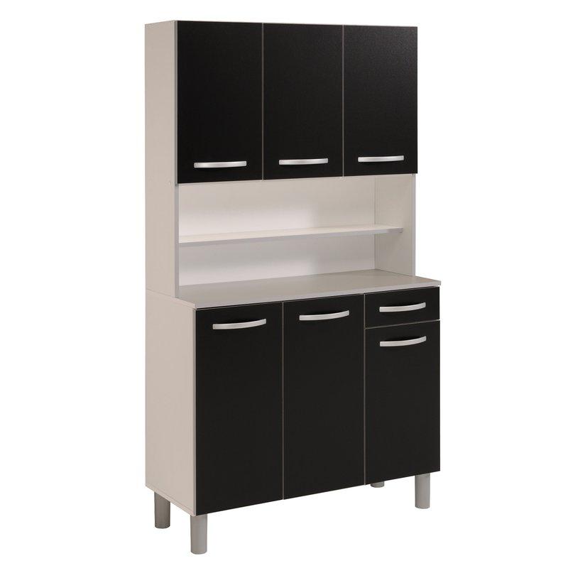 buffet de cuisine 6 portes 101x42x184cm coloris noir. Black Bedroom Furniture Sets. Home Design Ideas