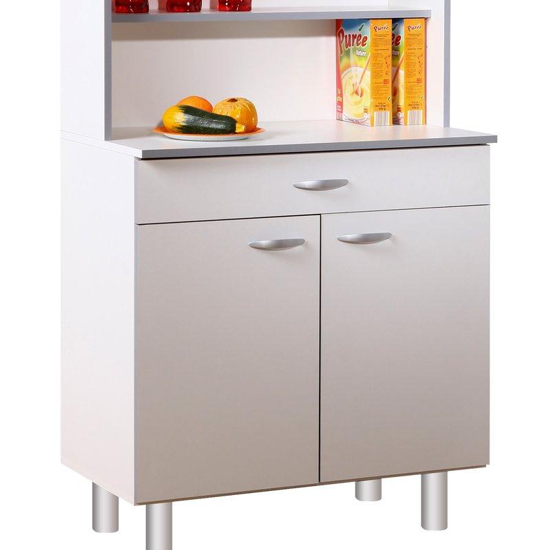 buffet de cuisine 4 portes 80x44x181cm coloris blanc maison et styles. Black Bedroom Furniture Sets. Home Design Ideas
