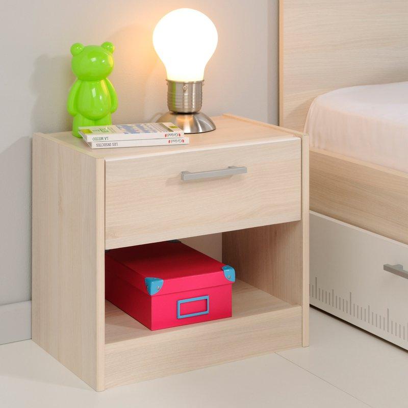 ensemble lit tiroir chevet commode coloris acacia et blanc maison et styles. Black Bedroom Furniture Sets. Home Design Ideas