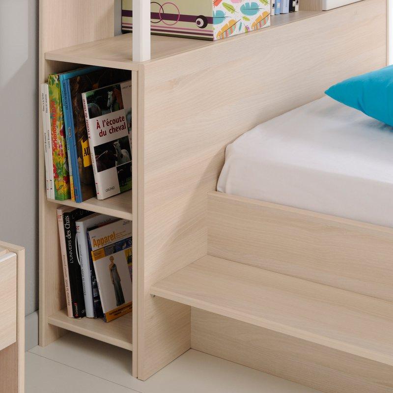 encadrement lit avec rangement 123x29x93cm coloris et blanc maison et styles. Black Bedroom Furniture Sets. Home Design Ideas