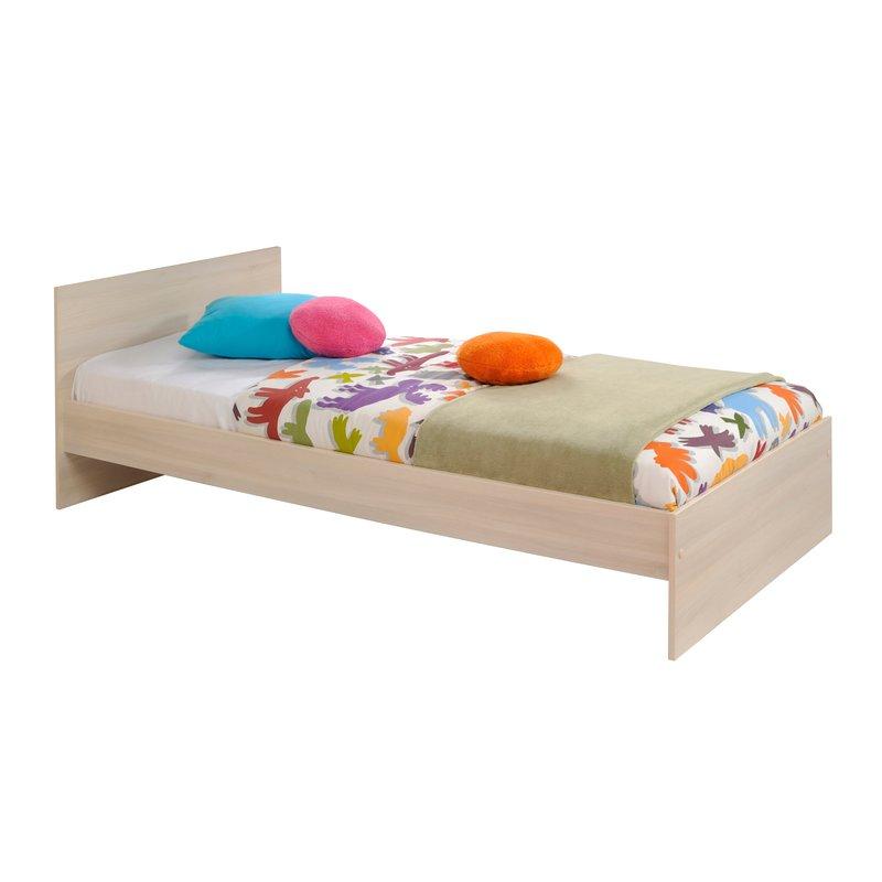 ensemble lit 90x190cm encadrement lit coloris acacia et blanc maison et styles. Black Bedroom Furniture Sets. Home Design Ideas