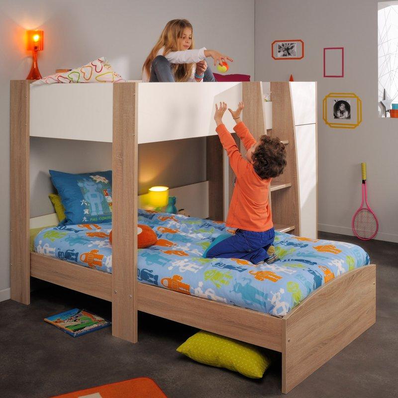 lit superpos 90x200cm coloris ch ne brut et blanc maison et styles. Black Bedroom Furniture Sets. Home Design Ideas