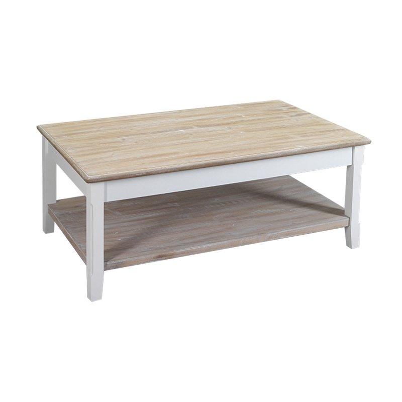 table basse 2 plateaux en bois 100x60x40 cm coloris blanc leonie maison et styles. Black Bedroom Furniture Sets. Home Design Ideas