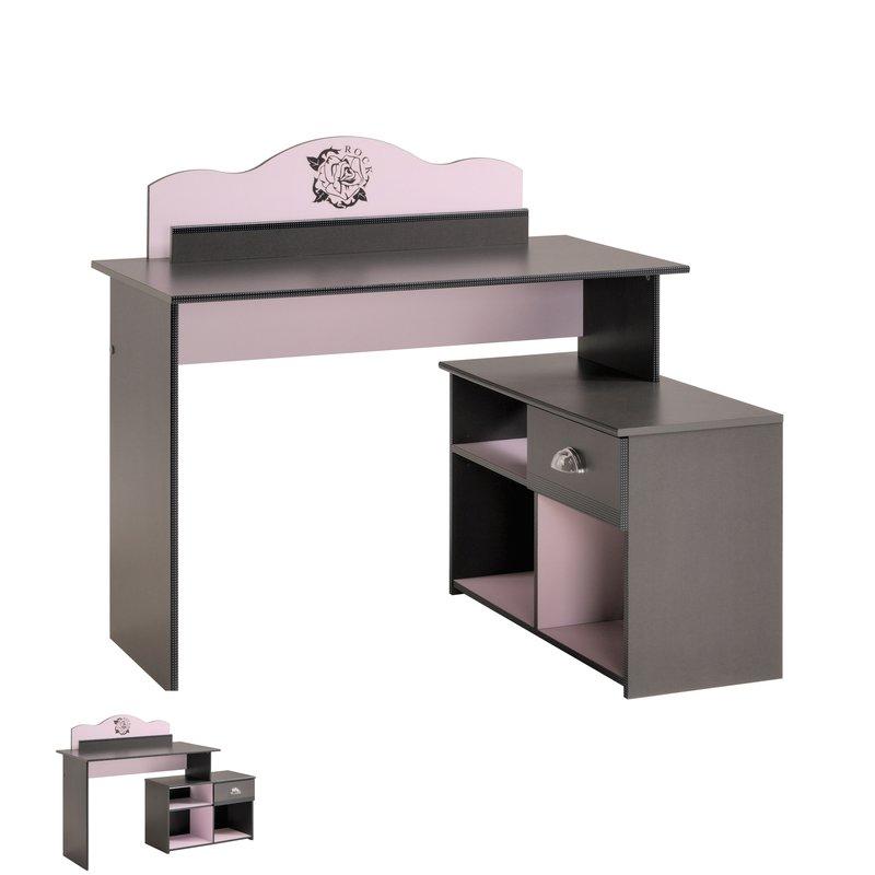 bureau modulable 118x89x101cm coloris gris et rose maison et styles. Black Bedroom Furniture Sets. Home Design Ideas