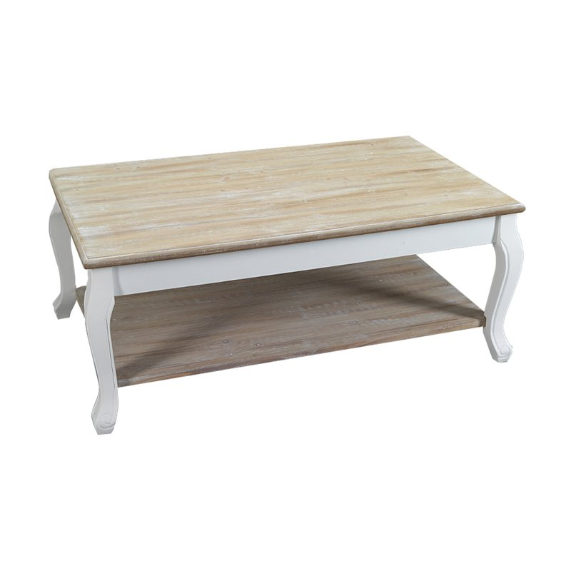 table basse 2 plateaux en bois 100x60x41 cm coloris blanc. Black Bedroom Furniture Sets. Home Design Ideas