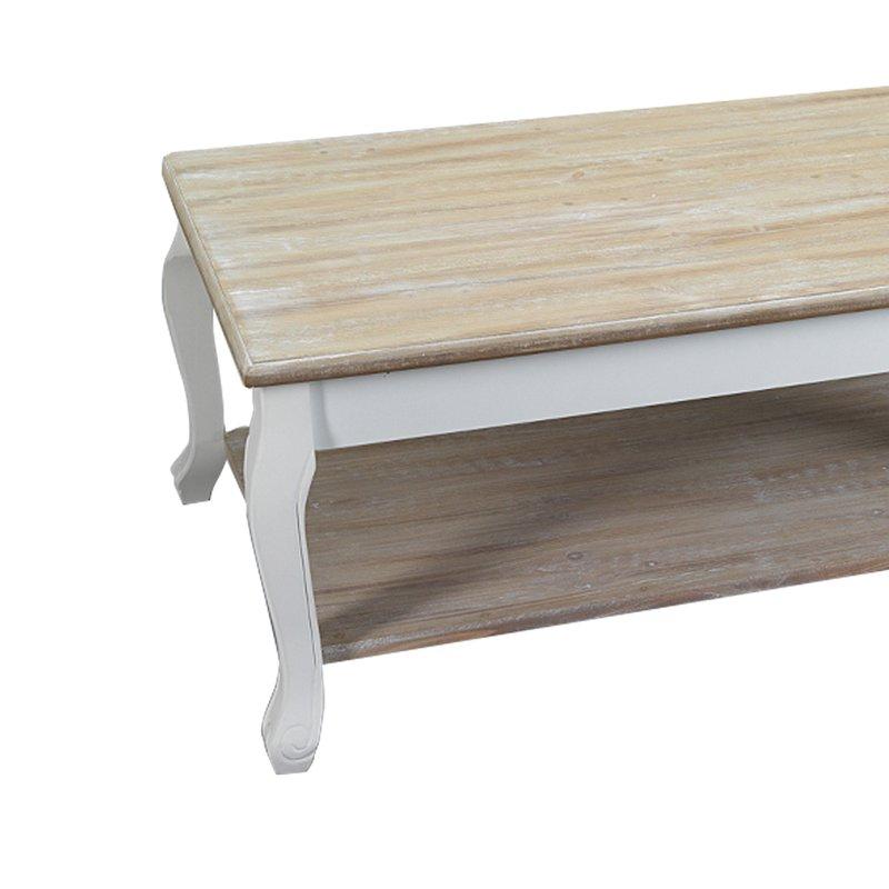 table basse 2 plateaux en bois 100x60x41 cm coloris blanc leonie maison et styles. Black Bedroom Furniture Sets. Home Design Ideas