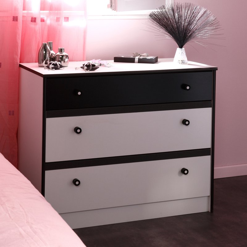 commode 90x75x47cm coloris blanc et noir maison et styles. Black Bedroom Furniture Sets. Home Design Ideas