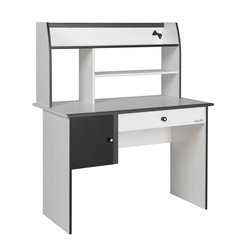 Bureau 108x59x128cm coloris blanc et noir maison et styles for Bureau blanc et noir