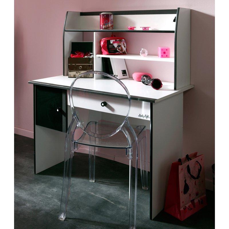 Bureau 108x59x128cm coloris blanc et noir maison et styles for Bureau noir et blanc