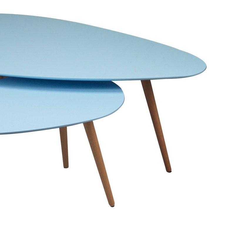 Tables gigognes 116x66x45cm coloris bleu baltic maison for Table basse scandinave bleu