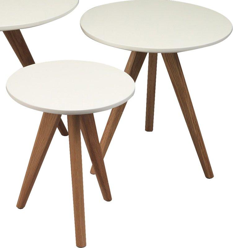 tables gigognes rondes 40x45 coloris blanc baltic maison et styles. Black Bedroom Furniture Sets. Home Design Ideas