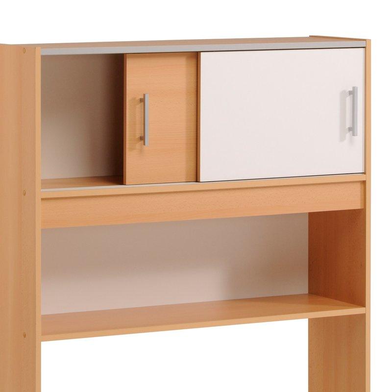 environnement de lit 98x28x108cm coloris h tre et blanc maison et styles. Black Bedroom Furniture Sets. Home Design Ideas