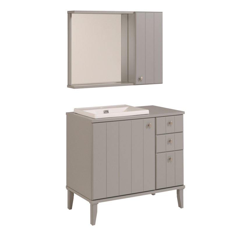 ensemble miroir vasque meuble sous vasque coloris gris maison et styles. Black Bedroom Furniture Sets. Home Design Ideas