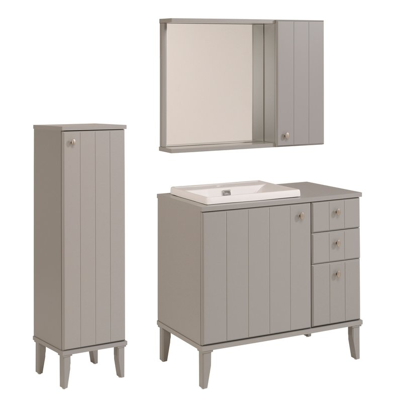 ensemble miroir vasque meuble sous vasque colonne coloris gris tom maison et styles. Black Bedroom Furniture Sets. Home Design Ideas