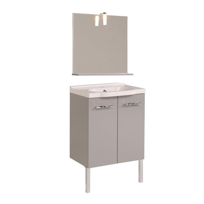 ensemble miroir vasque meuble sous vasque colonne coloris gris maison et styles. Black Bedroom Furniture Sets. Home Design Ideas