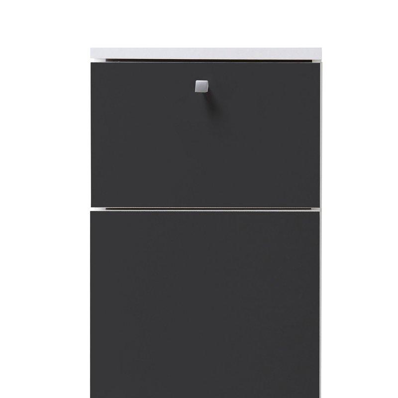 Meuble bas 30x84x32cm 1 porte tiroir coloris gris anthracite maison et st - Meuble salle de bain gris anthracite ...