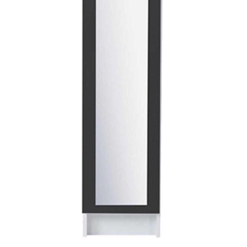 Colonne 1 porte miroir 30x31x185cm coloris gris anthracite for Colonne de salle de bain gris anthracite