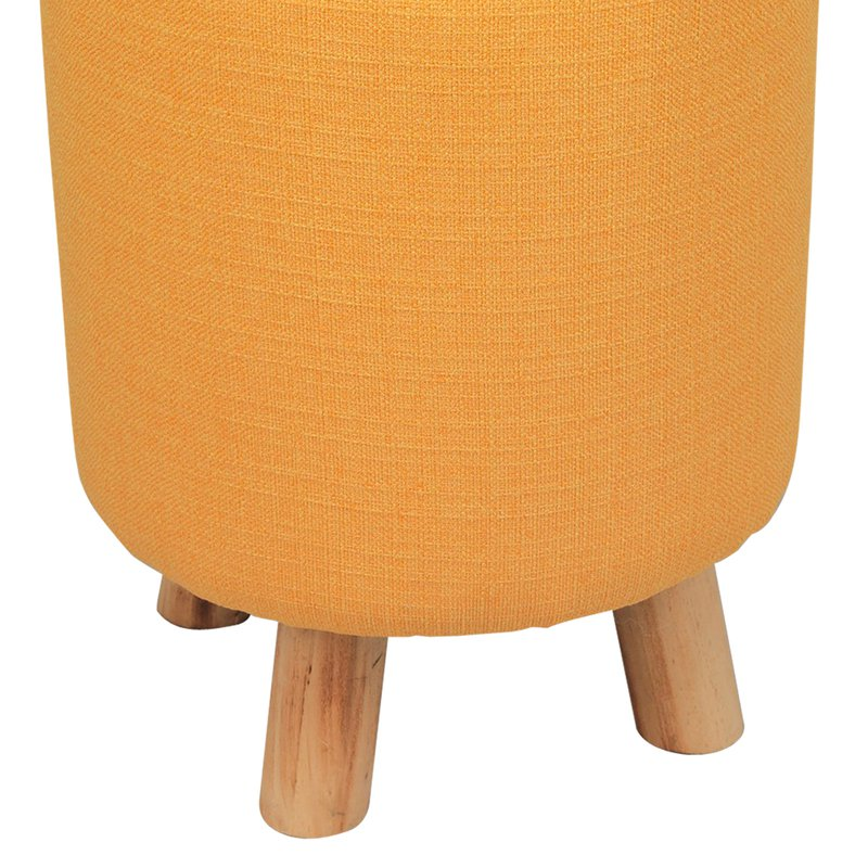 pouf avec pieds en bois coloris jaune baltic maison et styles. Black Bedroom Furniture Sets. Home Design Ideas