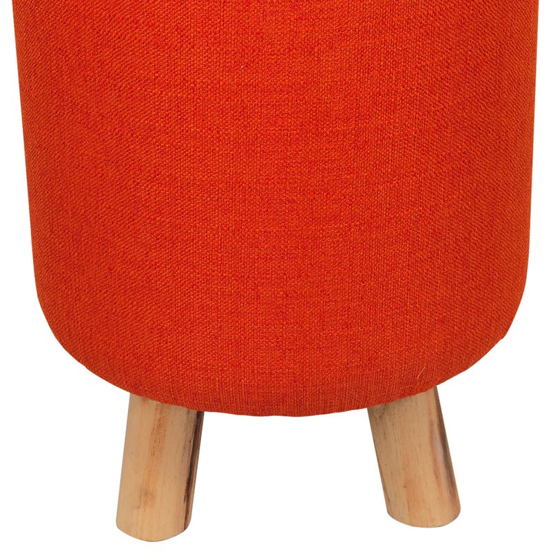 pouf avec pieds en bois coloris orange baltic maison et styles. Black Bedroom Furniture Sets. Home Design Ideas